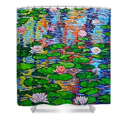 Lily Pond Colorful Reflections Shower Curtain by Ana Maria Edulescu