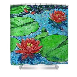 Lily Pond Impression Shower Curtain by Ana Maria Edulescu