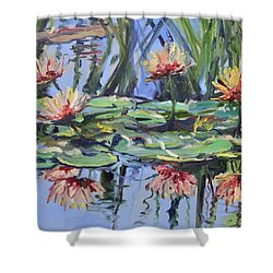 Lily Pond Reflections Shower Curtain by Donna Tuten