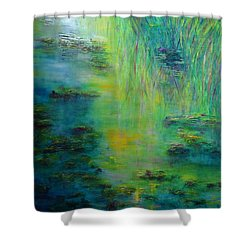 Lily Pond Tribute To Monet Shower Curtain by Claire Bull