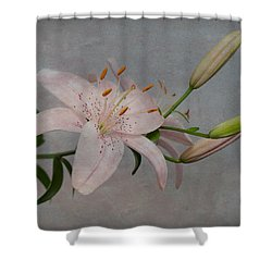 Pink Lily With Texture Shower Curtain