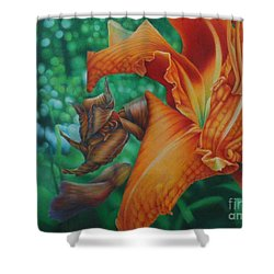 Shower Curtain featuring the painting Lily's Evening by Pamela Clements
