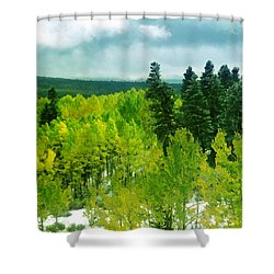 Lime Green Aspens Shower Curtain
