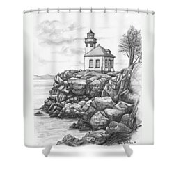 Lime Kiln Lighthouse Shower Curtain by Kim Lockman