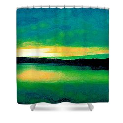 Lime Sunset Shower Curtain