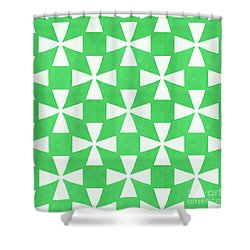 Lime Twirl Shower Curtain by Linda Woods