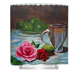 Shower Curtain featuring the painting Limes And Roses by Jenny Lee
