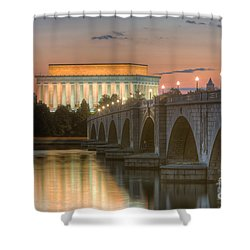 Lincoln Memorial And Arlington Memorial Bridge At Dawn I Shower Curtain