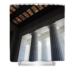 Lincoln Stained Glass And Columns Shower Curtain