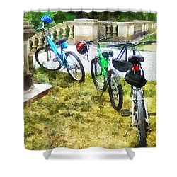Line Of Bicycles In Park Shower Curtain by Susan Savad