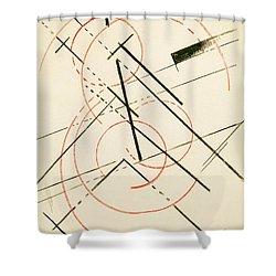 Linear Composition Shower Curtain by Lyubov Sergeevna Popova