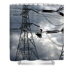 Lineman Shower Curtain by John Chatterley