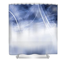 Lines And Circles Shower Curtain by Les Cunliffe