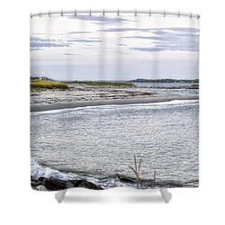 Shower Curtain featuring the photograph Lines The Seam Of Beach by Richard Bean