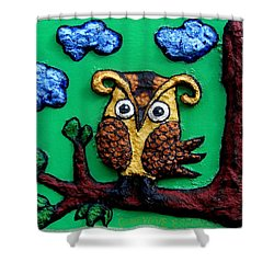 Lint Owl Detail Shower Curtain by Genevieve Esson