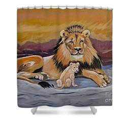 Shower Curtain featuring the painting Lion And Cub by Phyllis Kaltenbach