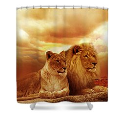 Lion Couple Without Frame Shower Curtain
