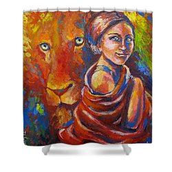 Lion Covering Shower Curtain by Tamer and Cindy Elsharouni
