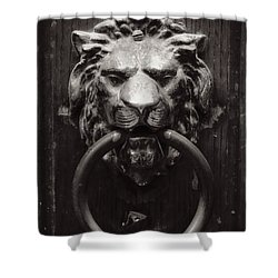 Lion Door Knocker Shower Curtain by Carol Groenen