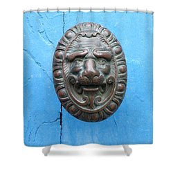 Lion Face Door Knob Shower Curtain by Lainie Wrightson