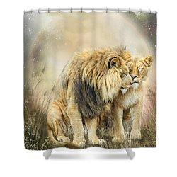 Lion Kiss Shower Curtain by Carol Cavalaris