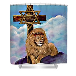 Shower Curtain featuring the painting Lion Of Judah At The Cross by Bob and Nadine Johnston