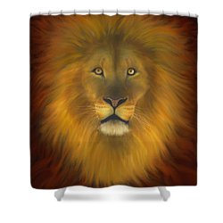 Lion Of Judah Fire In His Eyes 2 Shower Curtain by Constance Woods