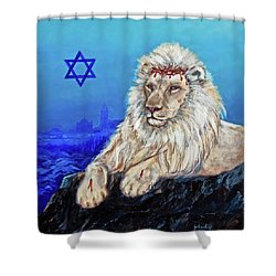 Lion Of Judah - Jerusalem Shower Curtain by Bob and Nadine Johnston