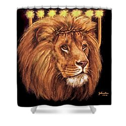 Lion Of Judah - Menorah Shower Curtain by Bob and Nadine Johnston