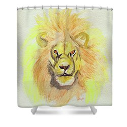 Lion Yellow Shower Curtain by First Star Art