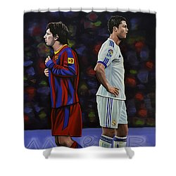Lionel Messi And Cristiano Ronaldo Shower Curtain by Paul Meijering