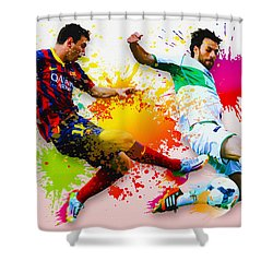 Lionel Messi Of Fc Barcelona Shower Curtain