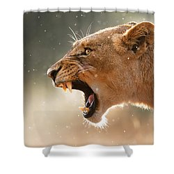 Lioness Displaying Dangerous Teeth In A Rainstorm Shower Curtain by Johan Swanepoel