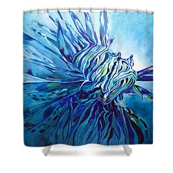 Lionfish Abstract Blue Shower Curtain
