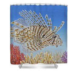 Shower Curtain featuring the painting Lionfish And Coral by Jane Girardot