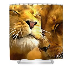 Lions In Love Shower Curtain by Catherine Lott