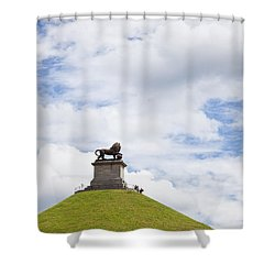 Lions Mound Memorial To The Battle Of Waterlooat Waterloo Belgium Europe Shower Curtain by Jon Boyes