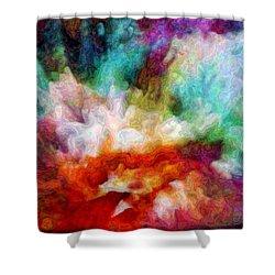 Shower Curtain featuring the digital art Liquid Colors - Enamel Edition by Lilia D