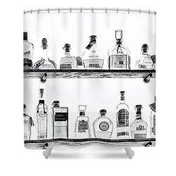 Liquor Bottles - Black And White Shower Curtain