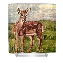 Shower Curtain featuring the painting Listening To The Creator's Voice by Kimberlee Baxter