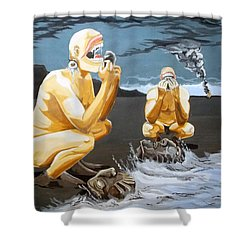 Shower Curtain featuring the painting Lithophagus Listen With Music Of The Description Box by Lazaro Hurtado