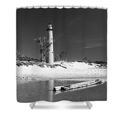 Shower Curtain featuring the photograph Litle Sable Light Station - Film Scan by Larry Carr