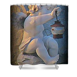 Little Angel With Lantern Shower Curtain by John Malone