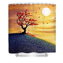 Little Autumn Tree Shower Curtain by Danielle R T Haney