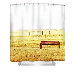 Little Bench On The Prairie Shower Curtain by Lenore Senior