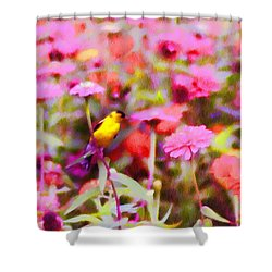 Little Birdie In The Spring Shower Curtain by Bill Cannon