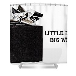 Shower Curtain featuring the photograph Black Present With A Silver Bow by Vizual Studio