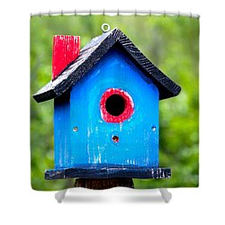 Little Blue Birdhouse Shower Curtain by Karon Melillo DeVega