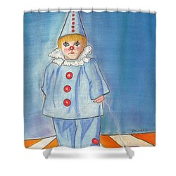 Little Blue Clown Shower Curtain