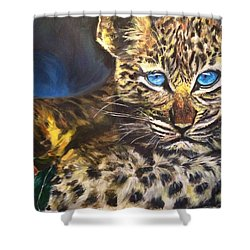 Little Blue Eyes Shower Curtain by Belinda Low